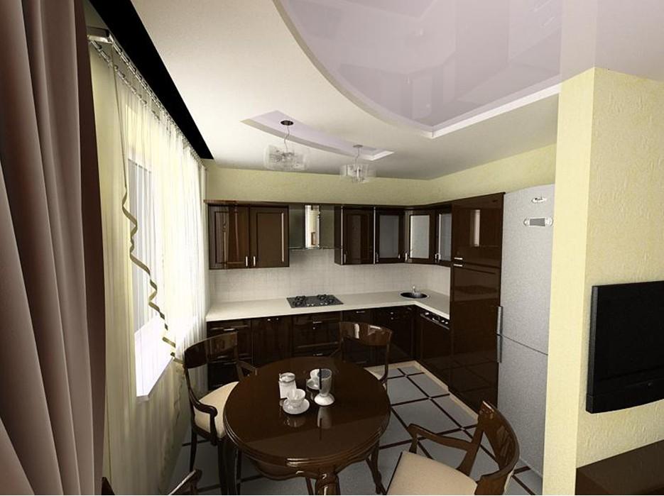 Дизайн маленькой гостиной в хрущевке совмещенной с кухней.