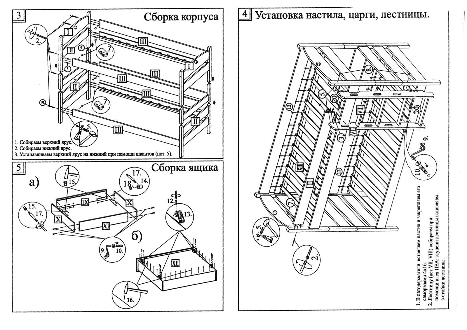 Инструкция сборки двухъярусной кровати